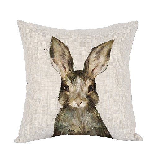 Moslion Rabbits Watercolor Cotton Linen Square Decorative Throw Pillow Covers Animal Square Pillowcases for Sofa Bedroom Livingroom Kitchen Car 18 x 18 inch,Watercolor