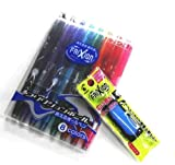 Pilot Frixion Ball Erasable Extra Fine Point Gel Ink Pen - 0.5 Mm - 8 Color set /Value set Which Attached the Eraser Only for Friction