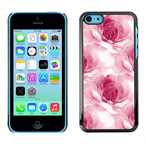Soft Silicone Rubber Case Hard Cover Protective Accessory Compatible with Apple iPhone? 5C - watercolor roses flower petals floral white