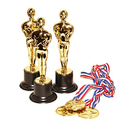 Dazzling Toys Set of 12 Golden Plastic Award Figure Trophies and 12 Medal Necklaces (Figures Trophy Plastic)