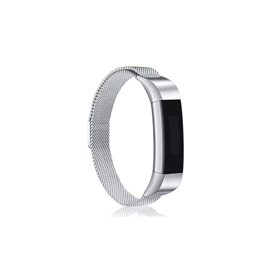 Konikit Bands Compatible Fitbit Alta(HR) Magnetic Straps, Milanese Loop Stainless Steel Metal Replacement Bracelet Strap, Wristbands Accessories for Women Men