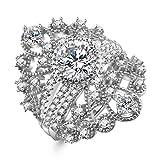 Women's Tiara Crown Princess Rings Wedding Ring Sets|Sterling Silver Ring|CZ Ring |3PCS
