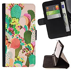 For HTC Desire 626 & 626s Cactus Painting Colorful Mexico Art Style PU Leather Case Wallet Flip Stand Flap Closure Cover