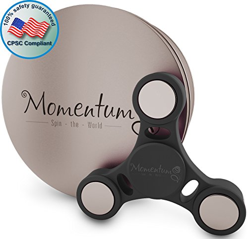 MomentumS High Speed Fidget Spinner Toy for Adults and Kids in Premium Metal Gift Box, Silent 3-5 min of Spin Time – Stress and Anxiety Relief, ADHD Focus Enhancement (Black)