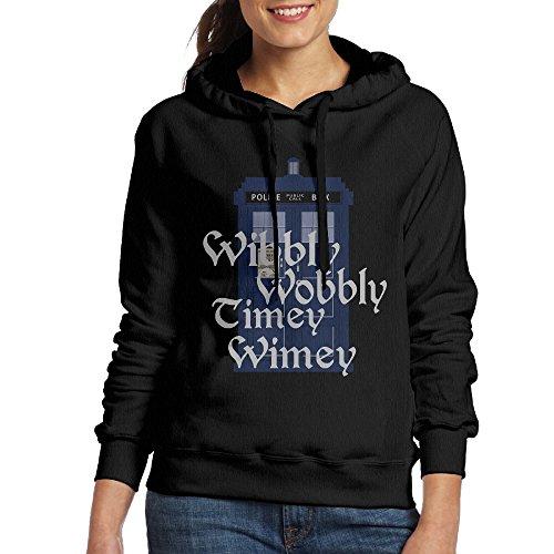 Wobbly Man Costume (ROTATEL Women Doctor Parody Wibbly Wobbly Timey Wimey Particular Hoodie Sweater Size XXL Black)