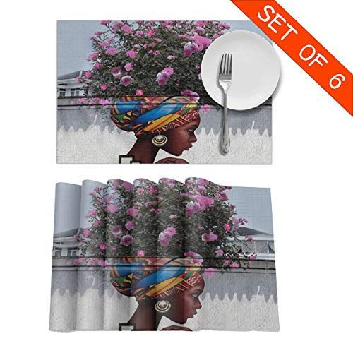 (DerdYoaa African American Afro Girl Women Hair Hippie Placemats Set of 6 for Dining Table Washable Placemat Non-Slip Kitchen Table Mats 12 X 18 Inches)