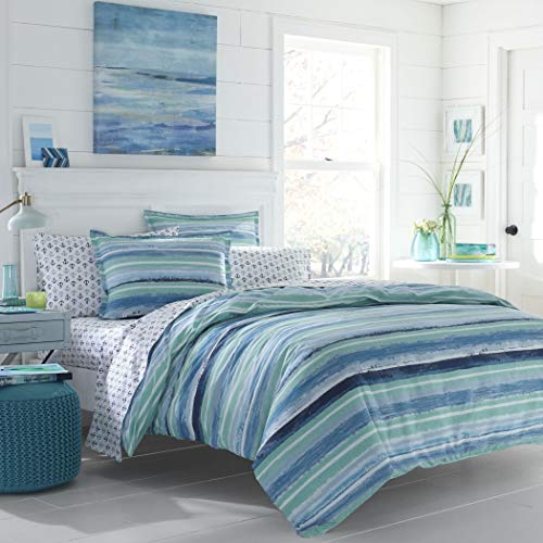 LO 3 Piece Turquoise Navy Blue Nautical Rugby Stripes Comforter Set Full Queen, Blue Color Block Coastal Ombre Cabana Stripes Adult Bedding Master Bedroom Reversible Contemporary Colorful, Cotton ()