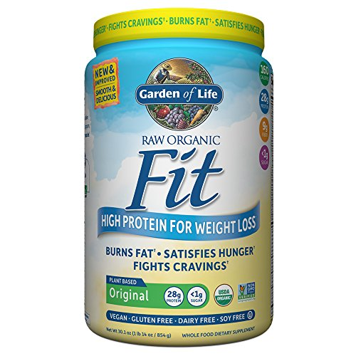 Garden of Life Raw Organic Fit Powder, Original – High Protein for Weight Loss (28g) plus Fiber, Probiotics & Svetol, Organic & Non-GMO Vegan Nutritional Shake, 20 Servings