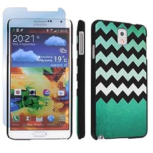 SkinGuardz Hard Case + Screen Protector for Samsung Galaxy Note 3 III - (Mint Green Texture Chevron Black)