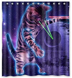 Space Cat Novelty Shower Curtain 66 X