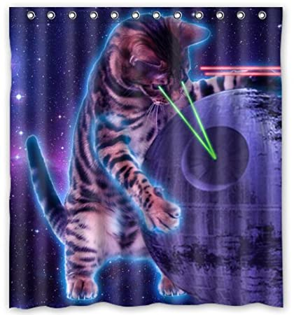 Space Cat Novelty Shower Curtain 66quot