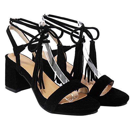 AIYOUMEI Damen Wildleder Blockabastz Chunky Heel Sandalen mit Schnürung und 6cm Absatz Elegant Sommer Schuhe Schwarz
