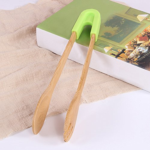 Wooden Toaster Tongs,Bamboo Tong Non-slip & Easy Grip Handy Utensil For Cooking, Serving, Barbecue, Buffet, Salad(round head,green)