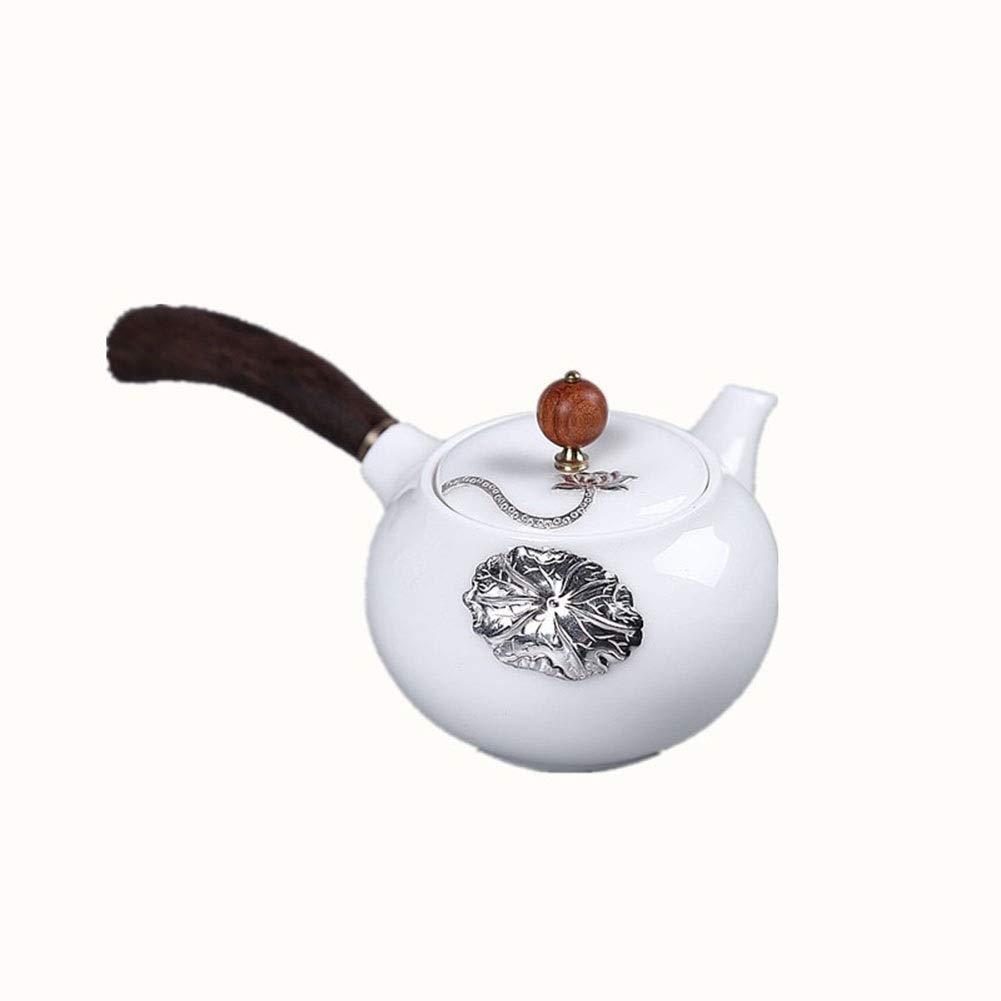 羊脂肪白磁茶セット無垢材ハンドルポットシングルポットサイドセットシルバーロータスティーポットカンフーティーセットアクセサリー B07SCKSVFB
