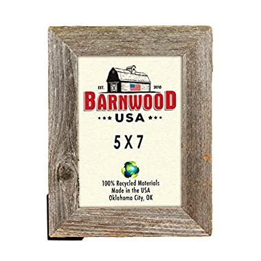 BarnwoodUSA 5 by 7 Inch Picture Frame Rustic Reclaimed Wood 1 ¼ Inch - Wide with Easel Back and Glass