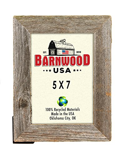 BarnwoodUSA 5 by 7 Inch Picture Frame Rustic Reclaimed Wood 1 ¼ Inch - Wide with Easel Back and Glass (Rustic Picture Frames 5x7 compare prices)