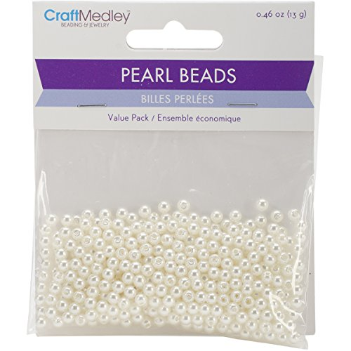 earl Beads (480 Pack), 4mm, Ivory (Sewing Pearls)