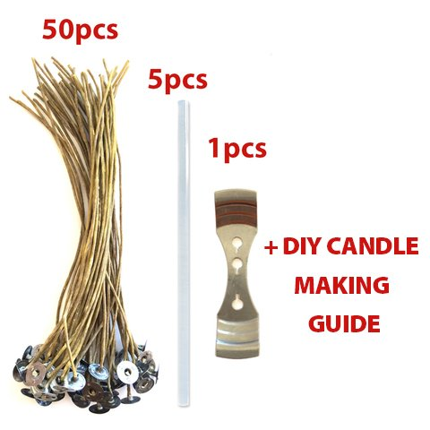 50//5//1 pcs; ORGANIC /& NATURAL; Thick Gauge 0.08 2.0mm 291 DIY HOUSEHOLD HACKS E-BOOKS INCLUDED CozYours 8 BEESWAX HEMP CANDLE WICKS WITH GLUE STICKS /& CENTERING DEVICE ; 70 CANDLE MAKING HACKS