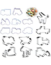 16Pcs Construction Cookie Cutter Pickup Truck Tractor Car Fondant Cookie Cutter Excavator Bulldozer Dump Truck Hammer for Kids Making Chocolate Pastry Cake Decorating and Construction Themed Party