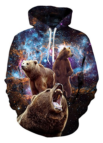 Alistyle Unisex 3D Print Funny Graphic Velvet Pullover Drawstring Hoodies with Big Pockets Sweatshirts