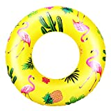 HeySplash Cartoon Swim Ring, Inflatable Durable Round Shaped Animals Summer Pool Beach Party Swimming Float Tube, Water Fun Swim Pool Toys with Repair Patch for Kids Teens Adults