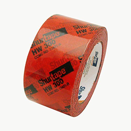 AGN 134338 Shurtape HW-300 Housewrap Sheathing Tape: 2-1/2 x 60 yd, Red/black