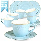 Guangyang 2.8OZ Espresso Cups and Saucers Set - 6 PCS New Bone China Small Tea Cups Embossed Floral Gold Edge Demitasse Mugs for Specialty Coffee,Blue