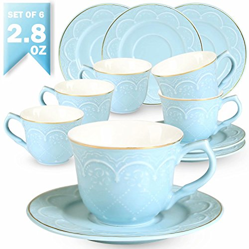 Floral Demitasse Cup - Guangyang 2.8OZ Espresso Cups and Saucers Set - 6 PCS New Bone China Small Tea Cups Embossed Floral Gold Edge Demitasse Mugs for Specialty Coffee,Blue