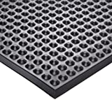 Ergomat Nitrile Rubber Anti-Fatigue Mat, for Heat, Oil and Petrochemical Resistance Areas, 2' Width x 3' Length x 0.43'' Thickness, Black