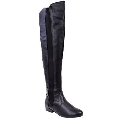 048ad1e82ef0 Fashion Thirsty Womens Elasticated Wide Leg Calf Stretch Over Knee Thigh  High Flat Riding Biker Boots
