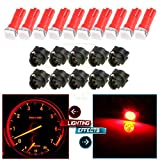 66 mustang body part - CCIYU 10pcs T5 74 85 58 37 27 17 1-5050-SMD LED w/ Black Twist Sockets Instrument Panel Dash Light Bulbs (red)