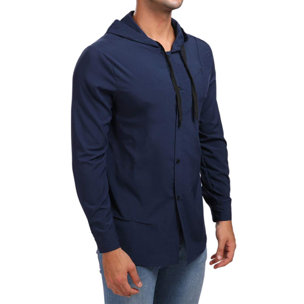 Heartell Mens Casual Button Down Shirts with Hoodie Fashion Long Sleeve Solid Shirt with Drawstring