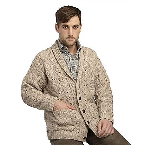 - 100% Irish Merino Wool Aran Button Cardigan,Oatmeal Extra Large