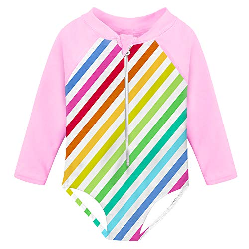 Fanient Baby Girls Sunsuit One Piece Swimsuit Rash Guard UPF 50+ Long Sleeve Rainbow Stripes Swimwear 1-2T