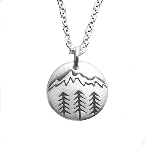 """MOUNTAIN FOREST MOON pendant 18/"""" Sterling Silver 925 necklace chain female men"""
