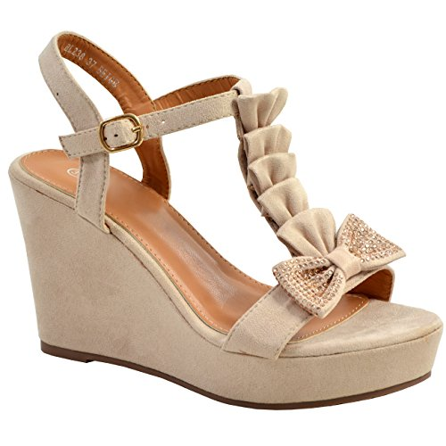 Strap Bow Toe Peep Wedge Shoes Sandals Studded Ankle Beige Ladies Platforms New Womens Fashion Cucu xU8qgXW
