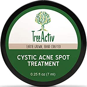 TreeActiv Cystic Acne Spot Treatment, Best Extra Strength Fast Acting Formula for Clearing Severe Acne from Face and Body, Gentle Enough for Sensitive Skin, Adults, Teens, Men, Women 0.25oz (0.25oz)