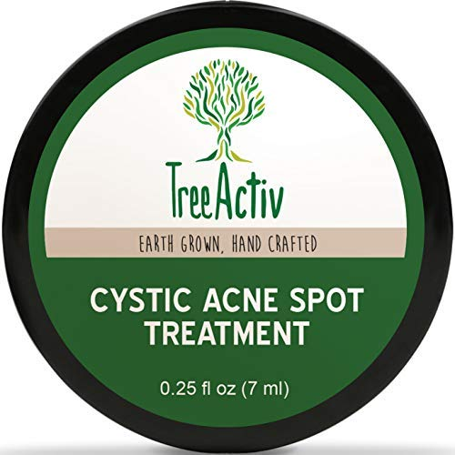 TreeActiv Cystic Acne Spot Treatment | Best Extra Strength Fast Acting Formula for Clearing Severe Acne from Face and Body | Gentle Enough for Sensitive Skin, Adults, Teens, Men, Women (0.25oz)