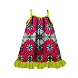 Zimaes Little Girls Casual Fine Cotton African Style Dashiki Dresses Rose Red XL