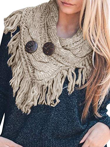 PASLTER Fringe Infinity Scarf Tassel Winter Warm Button Accent Cable Knit Wrap Scarves