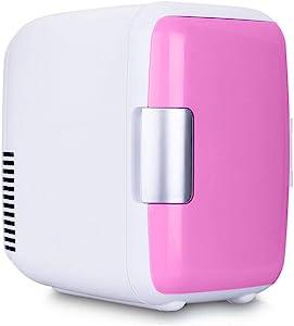 LIUHUI Mini Fridge Electric Cooler and Warmer, 4 Liter Mini Small Refrigerator 12V Beverage Fridge Portable Handle Tiny Refrigerator for Car, Road Trips, Drive Travel Use