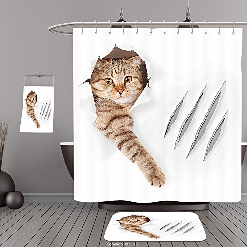 Uhoo Bathroom Suits & Shower Curtains Floor Mats And Bath TowelsAnimal Funny Cat in Wallpaper Hole with Claw Scratches Playful Kitten Cute Pet Picture Brown WhiteFor Bathroom