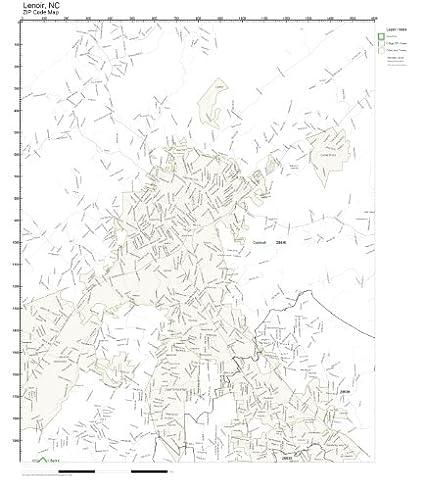 Hudson Nc Map.Amazon Com Zip Code Wall Map Of Lenoir Nc Zip Code Map Not