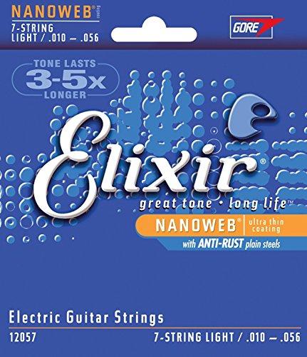 Amazon.com: CUERDAS GUITARRA ELECTRICA - Elixir 12057 Nanoweb 7 Cuerdas Light (Juego Completo) 010 A la 056E: Musical Instruments