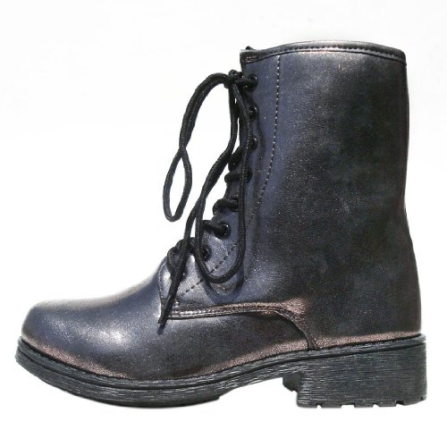 Bootie Missile04 Leatherette Pewter Lace Qupid Women's Military Up HqxYwa