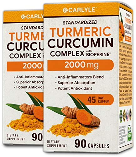 Cheap Carlyle Turmeric Curcumin 2000 mg 180 Capsules – with 95% Standardized Curcuminoids and Bioperine. Pain Relief and Joint Support Non-GMO, Gluten Free, Turmeric Root Supplement Pills