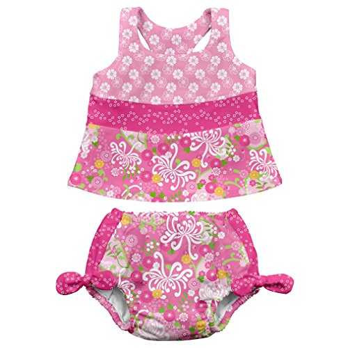 i play. Baby Girls' Bow Tankini Swimsuit With Built-In Absorbent Swim Diaper, Pink/Mum Garden, 6 Months by i play.
