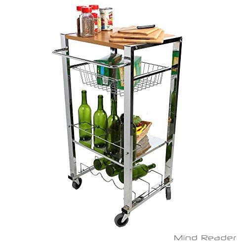 - Mind Reader Mobile Kitchen Cart with Wine Rack, Cutting Top, Mug Storage, Towel Rack, Bottle Holder