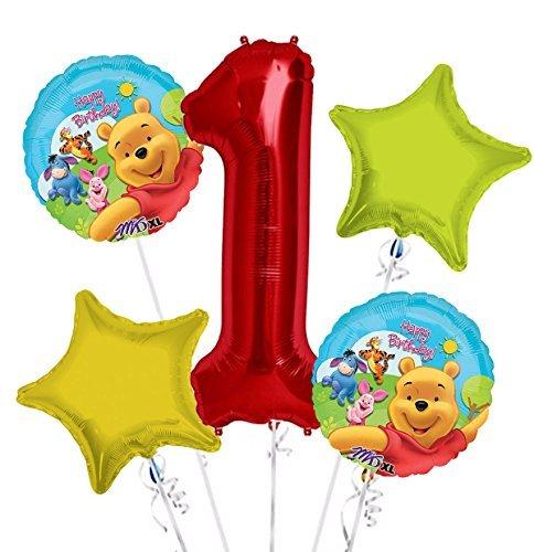 Winnie the Pooh Balloon Bouquet 1st Birthday 5 pcs - Party Supplies -