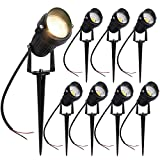 YGS-Tech 5W LED Landscape Lights 12V/24V Warm White Waterproof Low Voltage COB LED Outdoor Wall Spotlights for Garden, Yard, Lawn, Pathway (8 Pack)